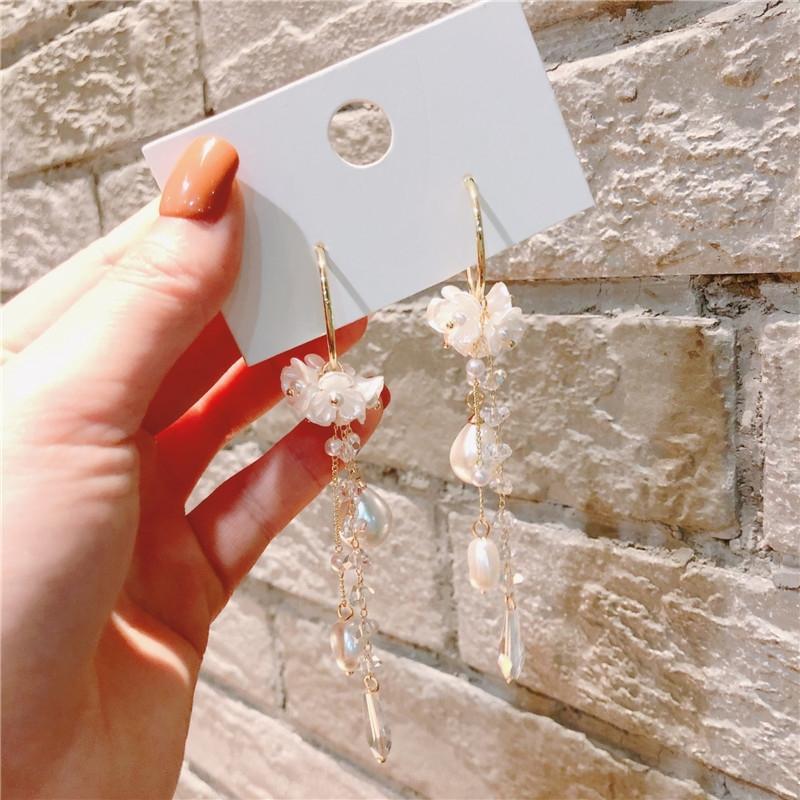 brincos ruSFk coreana cristal e brincos da moda estilo da flor geométrica de fadas de cristal brinco origem