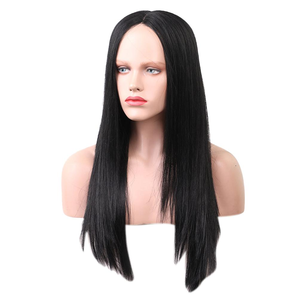 Women Natural Long Wig Human Hair Straight Black Full Wigs Middle Part 22 inch, Heat Safe for Daily Party Wear