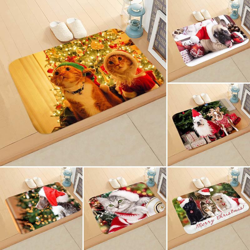 Weihnachten und Neujahr Katze und Hund Tiermatte Fußmatte Schlafzimmer Badezimmer Fuss Bad DDD28