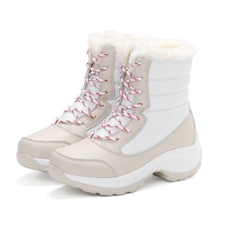 Kadın Çizmeler Kış Sıcak Kalite Orta Buzağı Kar Botları Bayanlar Dantel-Up Rahat Su Geçirmez Patik Chaussures Femme Botas Mujer Yüksek Çizmeler