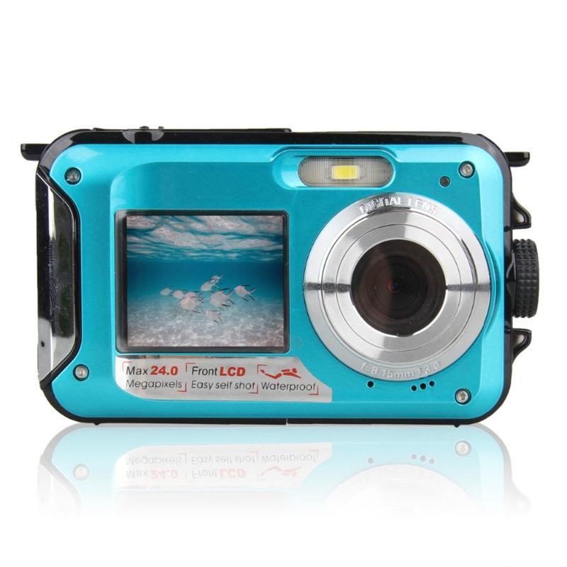 Doble pantalla de la cámara subacuática HD impermeable de disparo de grabación de vídeo de buceo deportivo de la cámara LED Flash Video Digital Photo