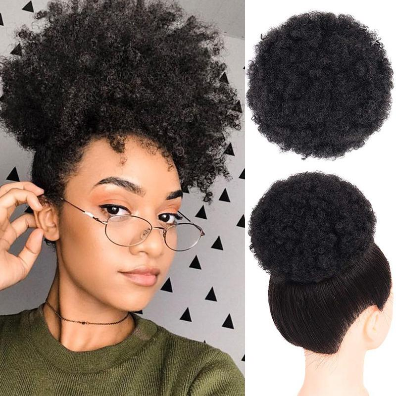 Afro Kinky Curly Ponytail Chignon For Women Natural Black Remy Human Hair Clip In Ponytails Drawstring Chignon Afro hairpiece
