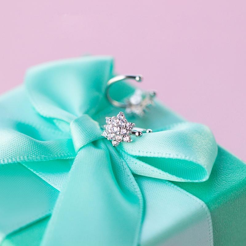 BM1iu s925 fermaglio in argento femminile coreano accessori di stile del diamante diamante Mori dolce fiocco di neve clip di fiore non-buche orecchie tempestato di diamanti