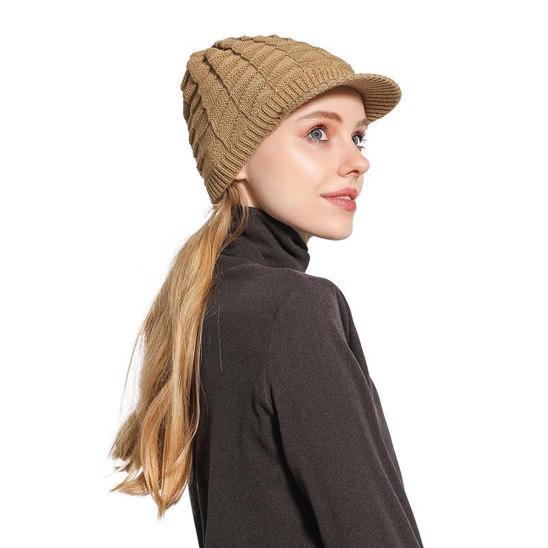 Las mujeres sombrero caliente del invierno Gorros interior de polar hicieron punto los sombreros para las mujeres Otoño Invierno Moda sombrero caliente gorras de punto