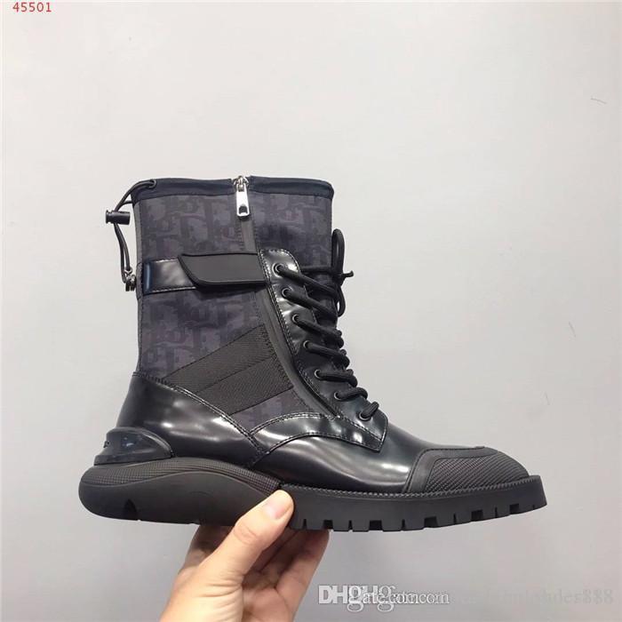 Mens Herbst und Winter neue Ankle-Boots, an den Kanten dunkle Beschriftung dicken Sohlen Menshochspitze Martin Stiefel mit Kasten Größe 38-44