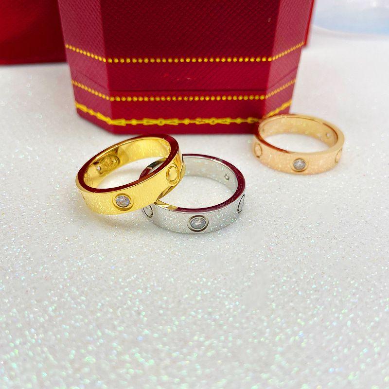 marca de moda caliente de acero inoxidable 316L amor tornillo Finger Multicolors anillo chapado sin estilo piedra de 6mm amantes de la joyería de ancho ninguna caja