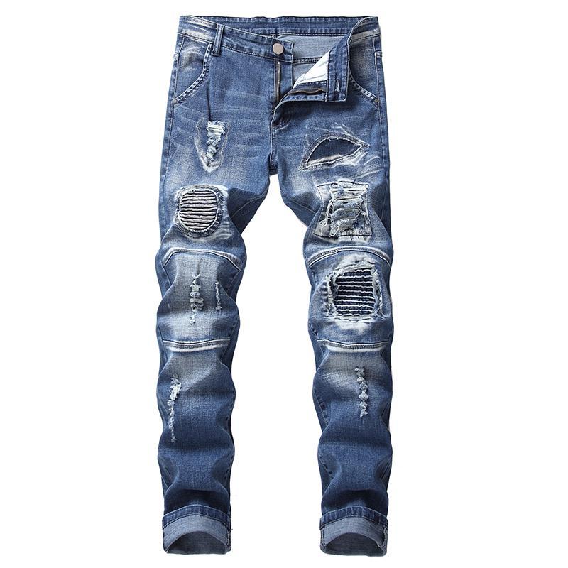 Adam moto ince streç kot pantolon Artı boyutu 28-42 için MORUANCLE Erkek delikleri patchwork motorcu kot