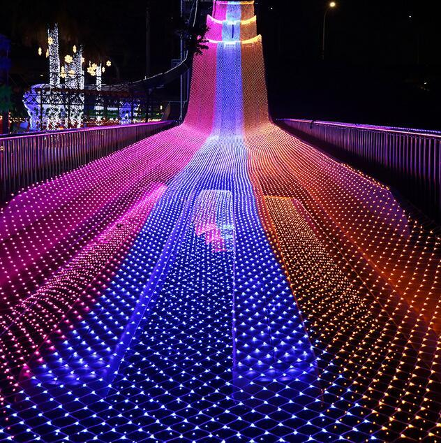 LED 1.5 M * 1.5 M 100 LED'ler Web Net Peri Noel Ev Bahçe Işık Perde Net Işıklar Net Lambalar