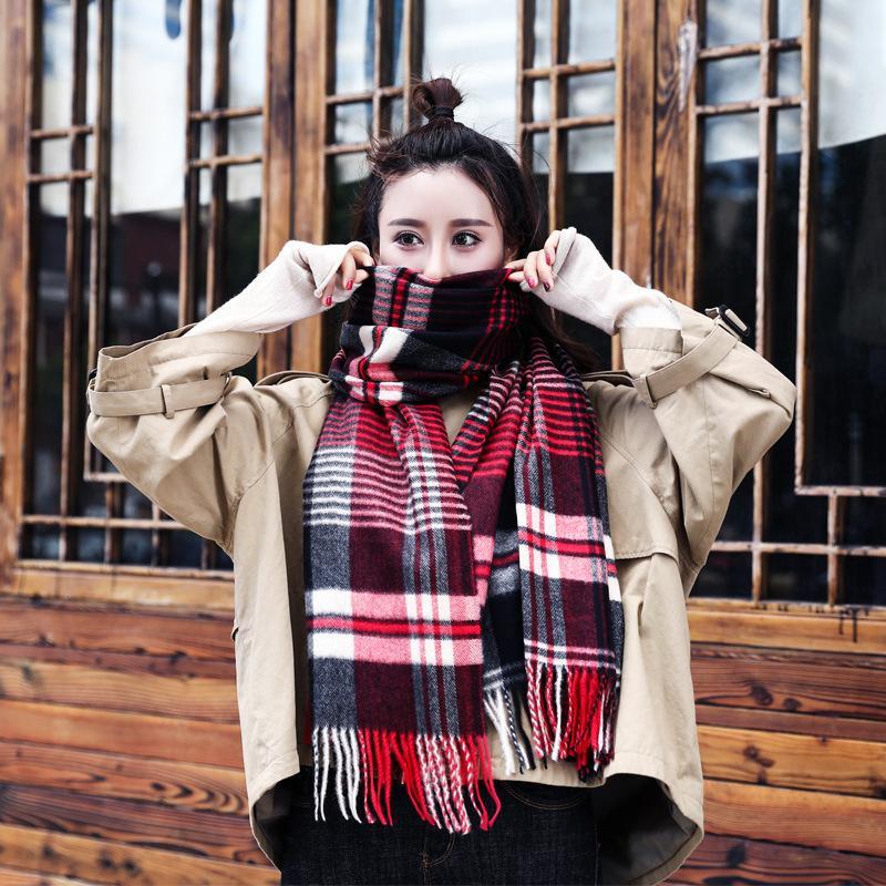 Шарфы осенью и зимой мужские женские женские толстые шарф шарф кашемировый мягкий пощадный плед корейский стиль теплый шаль женщины