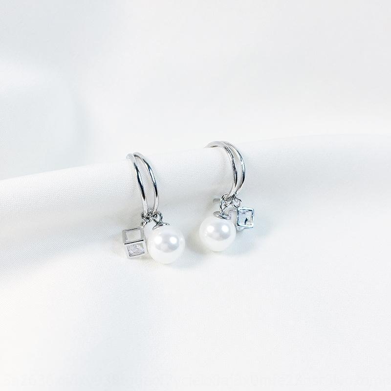 N9kvh s925 sterling silver freshwater pearl Pearl and women's versatile minimalist geometric earrings trendy temperament Korean Dongdaemun e