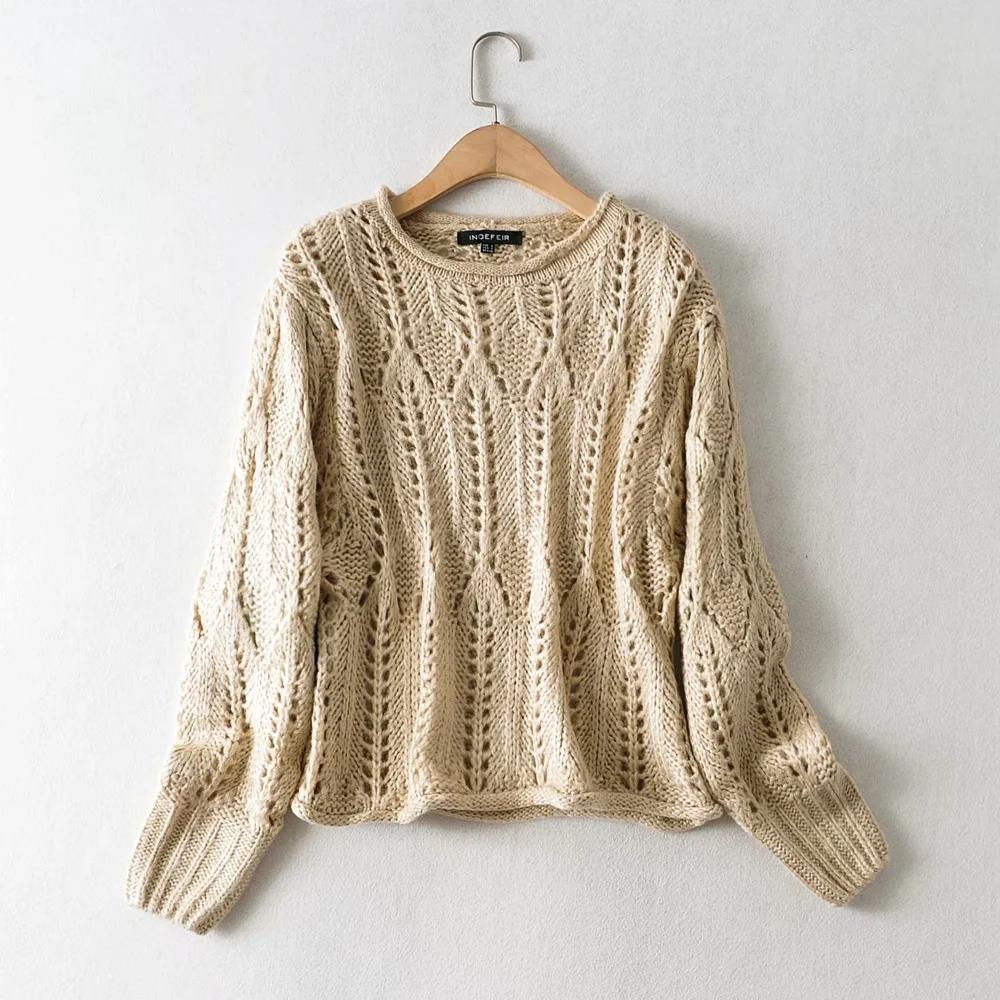 2020 Long Sleeve Women Sweater Autumn clothing Fall new women's fashion casual loose turtleneck pullover long sleeve hollowed sweater