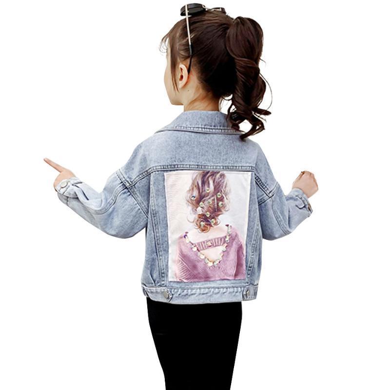 Cappotto per i vestiti per bambini cappotto di stile Girl modello floreale del denim della ragazza tuta sportiva patchwork per bambini Casual
