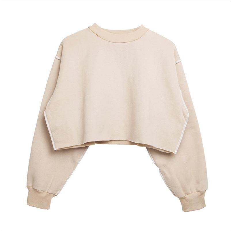 2020 New S XL 9 Colors Solid Khaki Women Autumn Winter Casual Pullover Long Sleeve Loose Cropped Sweatshirt Female Crop Tops