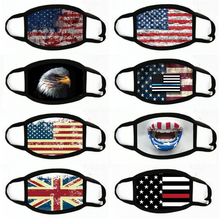 Cara da forma máscara máscaras de algodão à prova de poeira máscaras Bandeira US WashableMask pode inserir Filter # 348