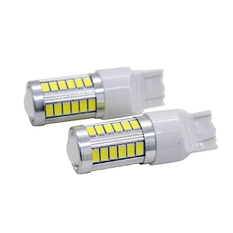 2pcs / Par SUNKIA T20 7440/7443 W21 / 5W alta brillante 5630 SMD 33 coche de la cuña de parada del freno vuelta del revés de señalización LED del bulbo blanco puro