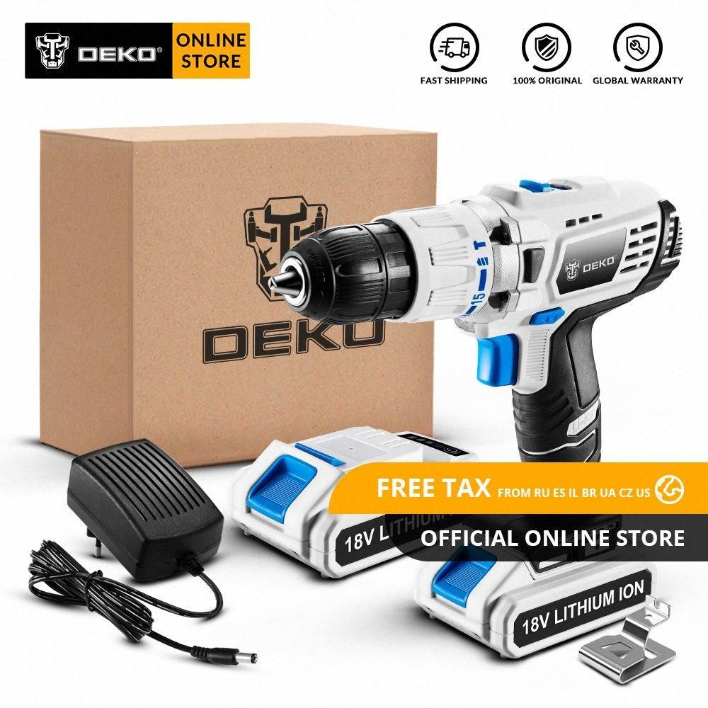 Originale DEKO GCD18DU3 18V Impatto Cordless Drill cacciavite elettrico agli ioni di litio Mini Power driver a velocità variabile LED 2 batterie NJ9l #