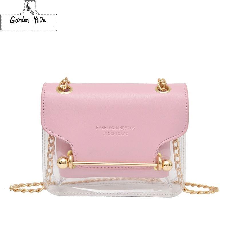 Mode Frauen Brand Design kleine quadratische Umhängetasche Freier transparenter PU-Composite-Messenger Bags Neue Weibliche Handtaschen