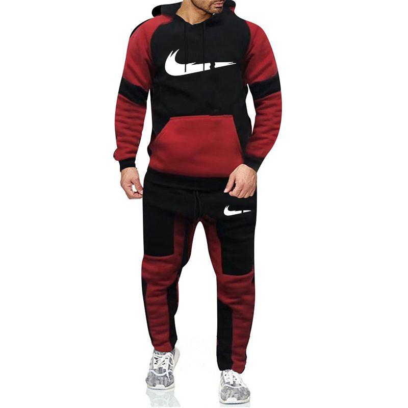 Новые 2020 Brand Tracksuit Мужскую моду Спортивной одежды из двух частей Комплектов Все Хлопок флис Толстого балахона + штаны спортивного костюма Мужских