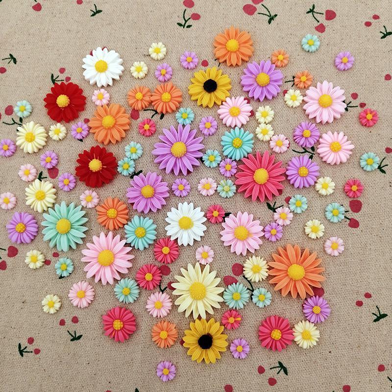 Resina miscela di colore del fiore della margherita posteriore piana Cabochon il mestiere di DIY per monili mano facendo accessori della decorazione della cassa del telefono