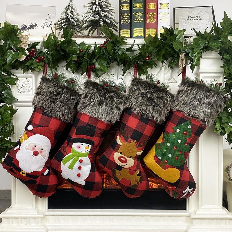 Moda de Natal Meia Sacos de Natal Doces Saco de Natal Presente Pendurado Xmas Partido Decoração De Árvore Santa Ornament Sock Tree Doces Presente V CSDX