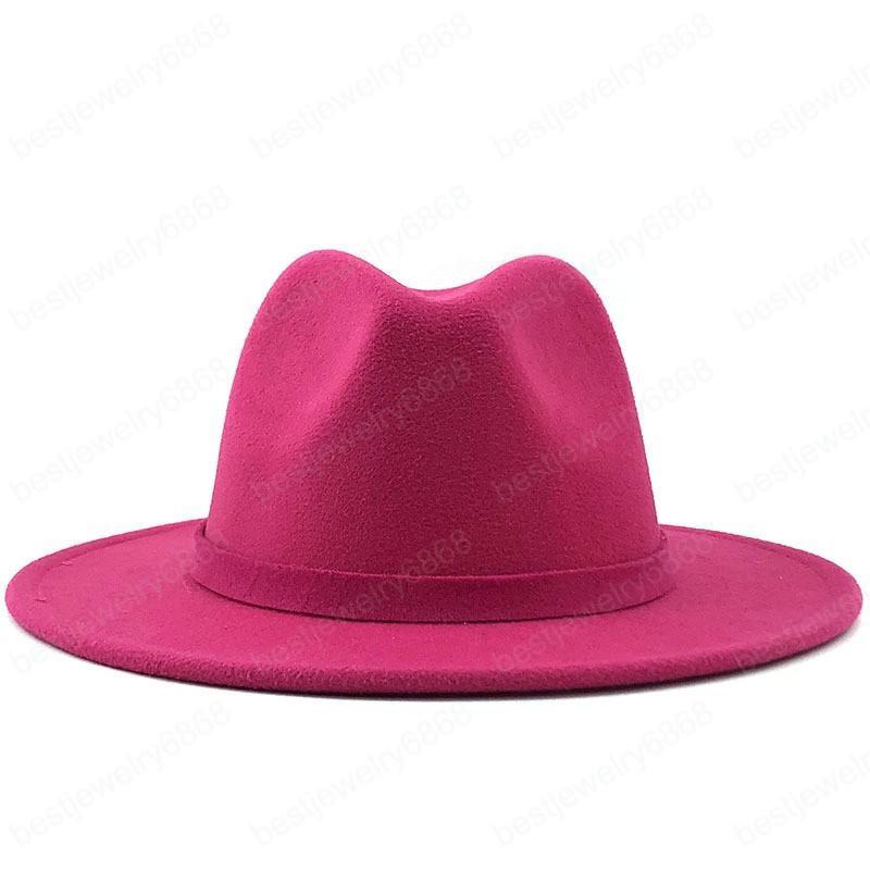 Erkekler Kadınlar Geniş Ağız Yün Keçe Caz Fedora Şapkalar İngiliz Tarzı Trilby Partisi Örgün Panama Kap Siyah Sarı Elbise Şapka 56-58 cm
