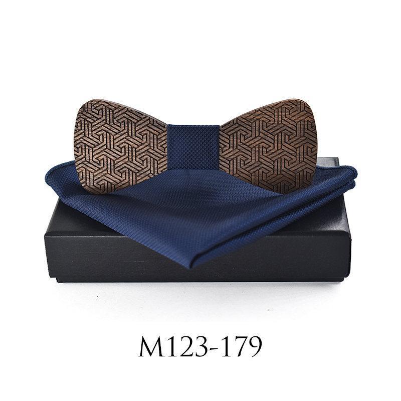 Linbaiway moda para hombre de madera Bowtie Pañuelo Cheif Conjunto de bolsillo para hombre Fular para la boda hueco Craved pajarita caja de regalo