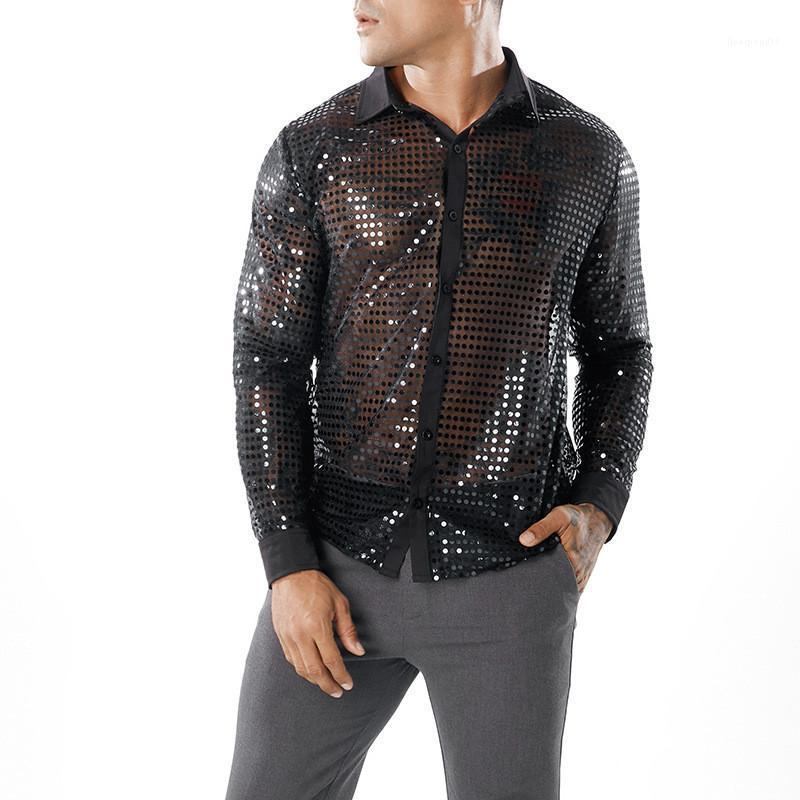 Night Club Shirts Casual Males Clothing Dot Scales Print Mens Casual Shirts Fashion Perspective Single Breasted Mens Designer