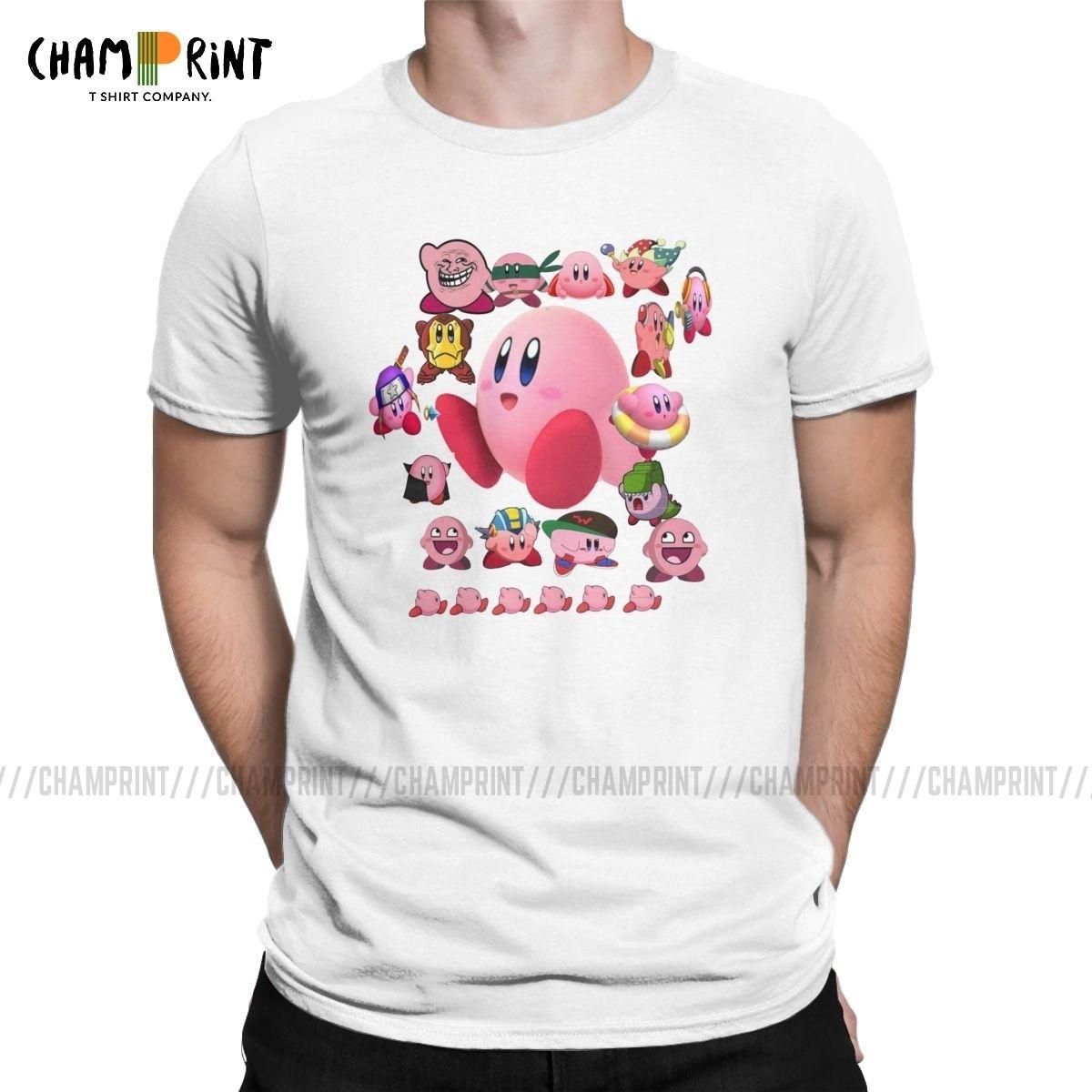 Colagem de Kirby T-shirt Homens Nostalgia Infância ACT Jogo 2019 Moda 100% Size roupas Cotton Tees camiseta manga curta Além disso,