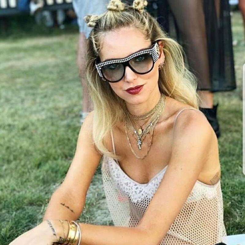 Oversized strass cornice quadrata occhiali da sole per le donne di diamanti lucenti di marca Occhiali designer di moda femminile Shades AB19