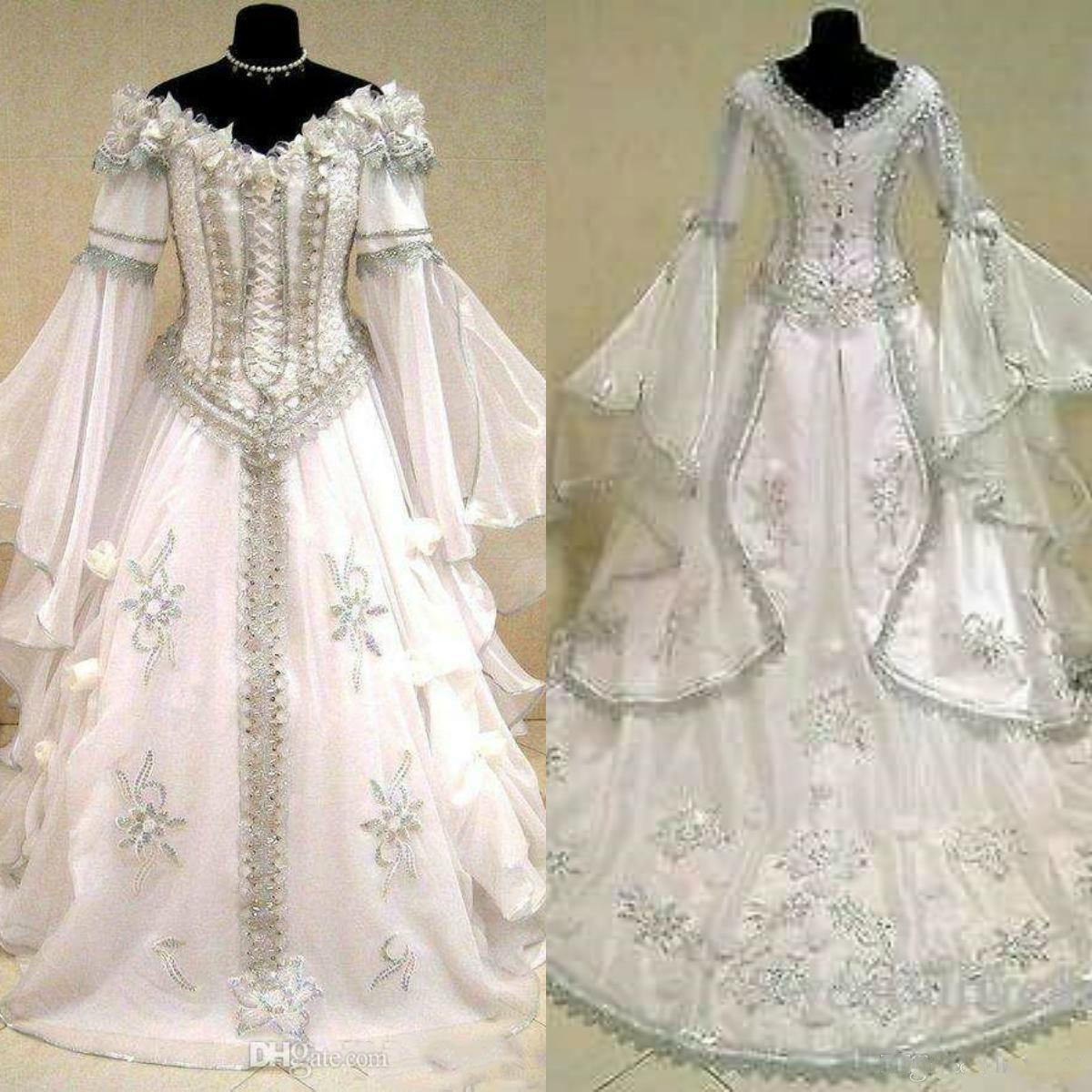 Medieval Wedding Dresses Witch Celtic Tudor Renaissance Costume Victorian Gothic Off The Shoulder Long Sleeve Wedding Dress Bridal Gowns