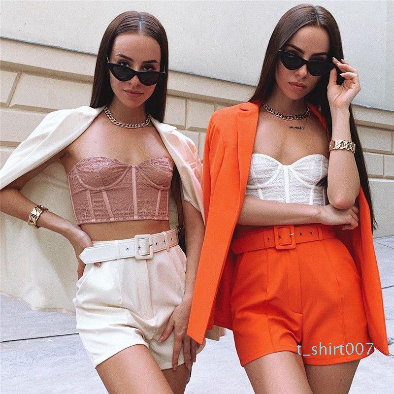Solid Color Damen Hose passt Lange Blazer-kurze Hosen 2pcs Klagen beiläufige lose Revers Ausschnitt Einreiher Damen Sets t06