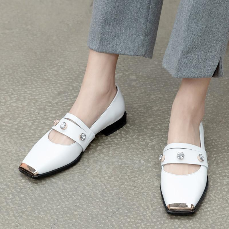 Metal Square Toe Women Single Shoes Crystal White Shoes Rhinestone Mary Janes Shoes Genuine Leather Flat Party Feniminal