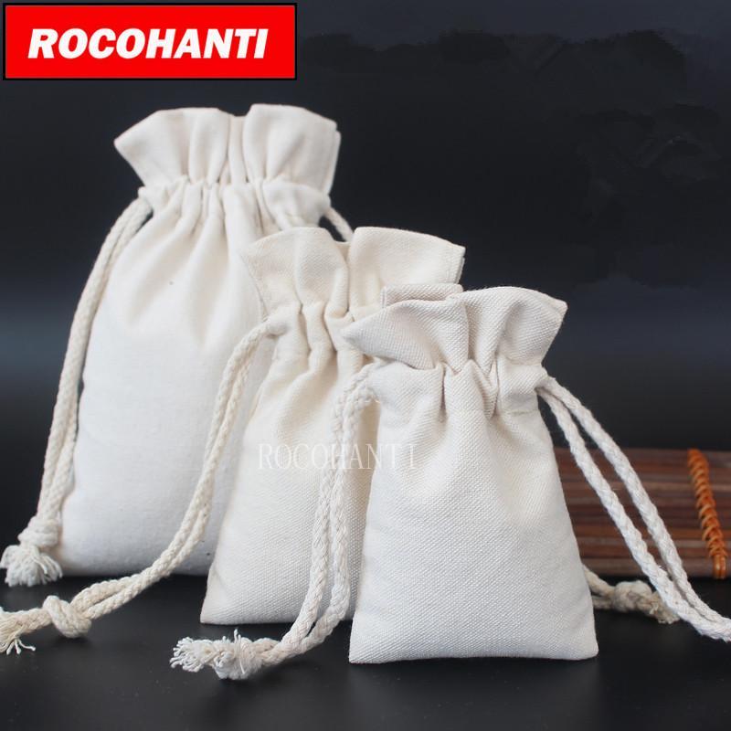 25PCS personalizada Eco Friendly lona de algodón con asas con el logotipo de impresión, pequeña y grande del tamaño del paquete bolsas de tela regalo