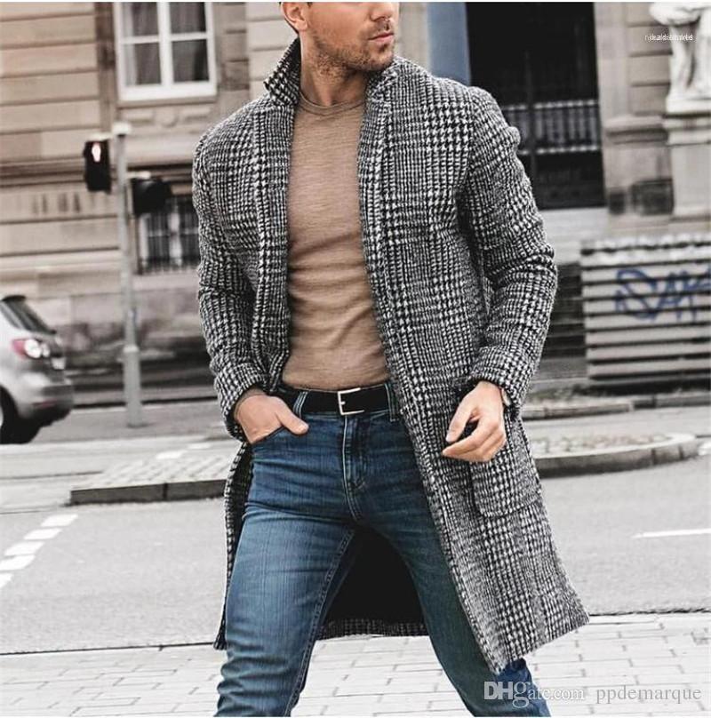 Cou d'hiver Hommes Manteaux Casual Male Manteaux Imprimer Plaid hommes coupages noir en vrac manches longues Lapel