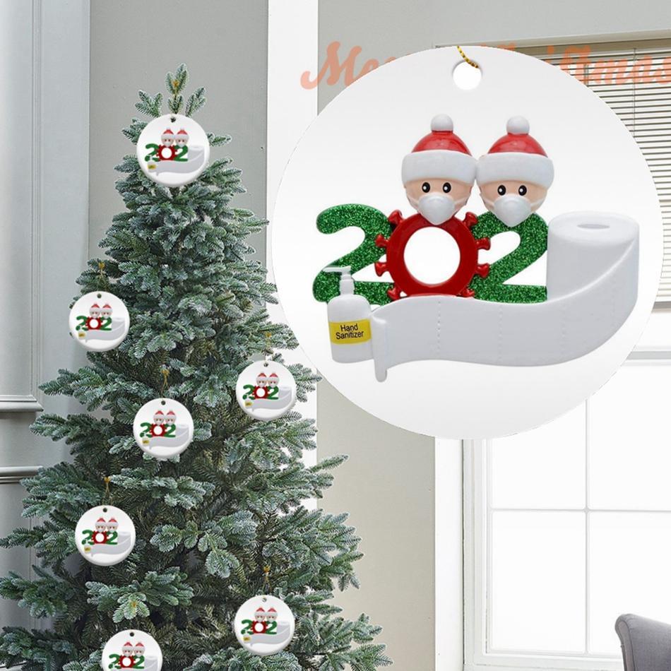 Rund 2020 Quarantine Familie Ornament DIY Keramik-Karte Weihnachtsbaum Sankt-hängender Anhänger Partei-Dekoration LJJP540
