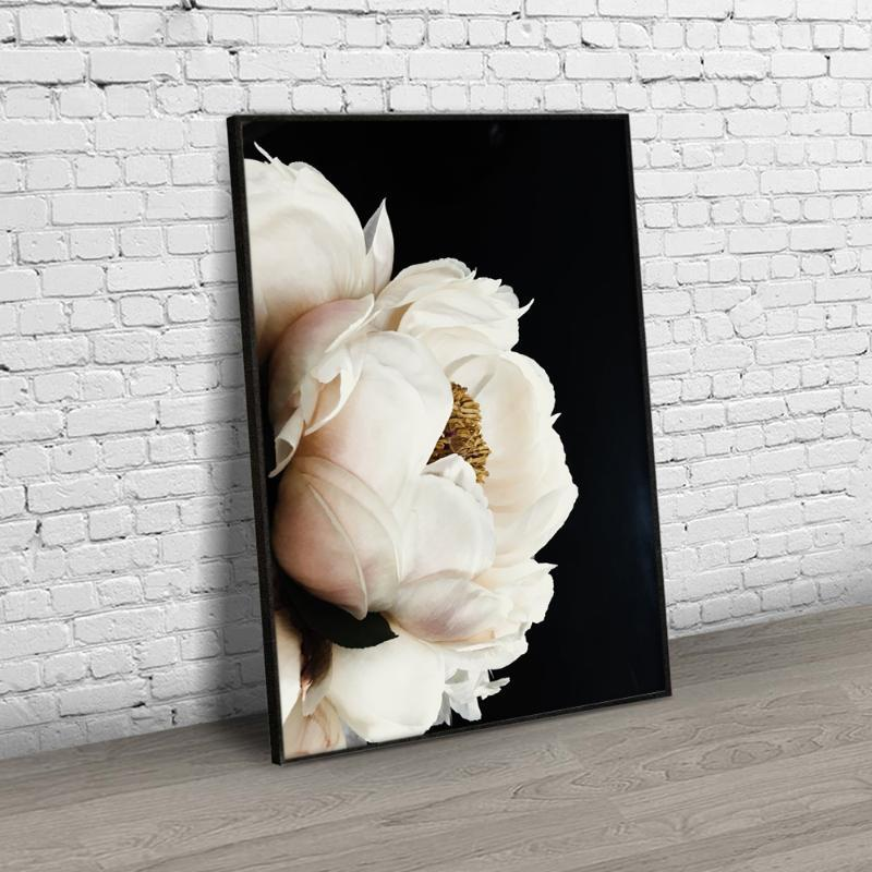 Black White Peony Nordic Wall Art Canvas Poster and Print Flowers Canvas Painting Picture for Living Room scandinavian Decor