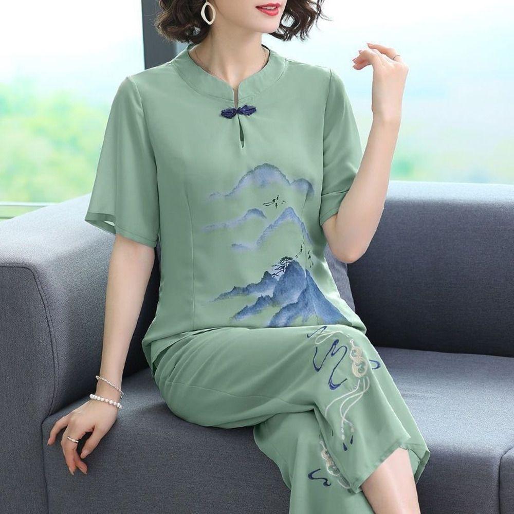 roupas de verão vs3Xr bordados 2.020 nacionalidade Grupo étnico terno novo de meia-idade de meia-idade étnica para o estilo das mulheres de duas peças principais das mulheres