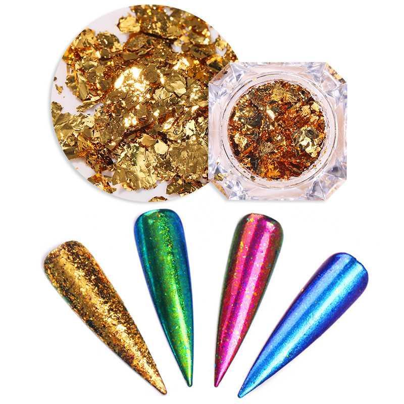 1 Box Chameleon unhas Flakes lantejoulas irregular Glitters dicas DIY decoração de unhas para Papel Pó Poeira Gel UV Polish Manicuring
