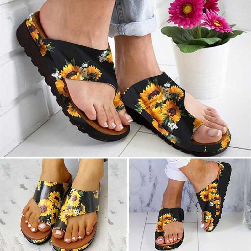 Mujeres PU zapatos Cómoda Plataforma Plana Sole Ladies Casual Girasol Suave Big Toe Pie Corrección Sandalia Ortopédica Buión Corrector