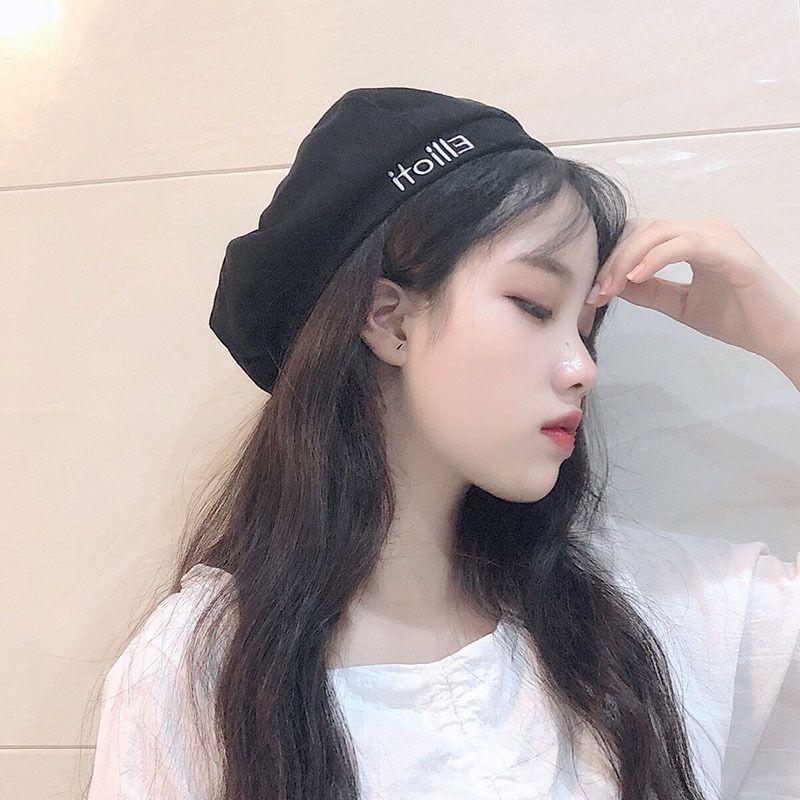 versione coreana di Harajuku ricamato lettera Beret bambini autunno inverno retrò studente cotone cappello di anice zucca pittore
