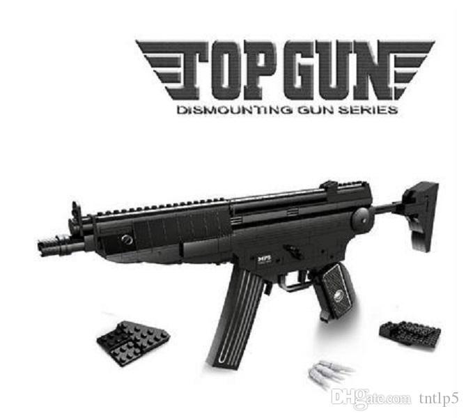 2020 New 597pcs The MP5 Assault Gun Model Creator Military Weapon Building Blocks Classic Boy Toys Outdoor Simulation CS Shooting Game