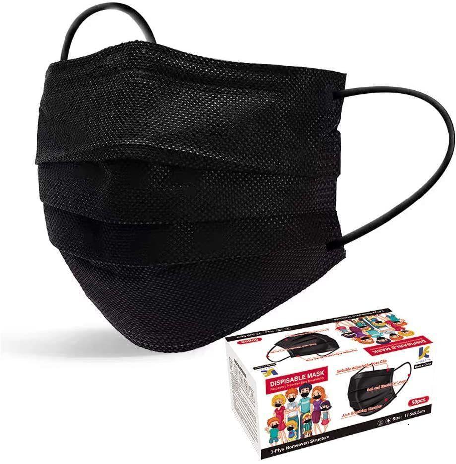 RZLU 100pcs máscaras faciales desechables Negro, 3-estrato elástico del oído filtro de lazo máscara facial pañuelos de las mujeres de los hombres adultos (100pcs)