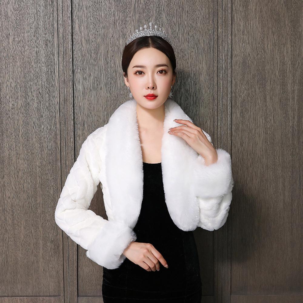 2019 fashion autumn and winter New Bridal wedding dress long sleeve cotton-padded jacket welcome wool shawl
