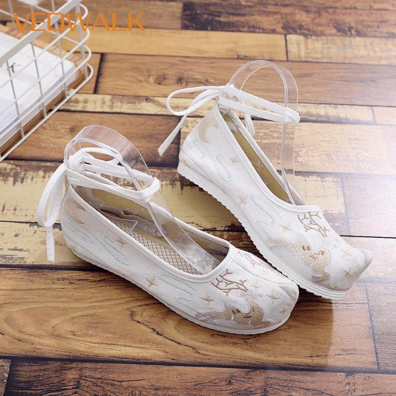 Sapatos Plataformas Veowalk cervos Mulheres bordado macio lona Costume Flat Shoes com tira no tornozelo senhoras Comfort Algodão retro chineses Comfort RUrc #