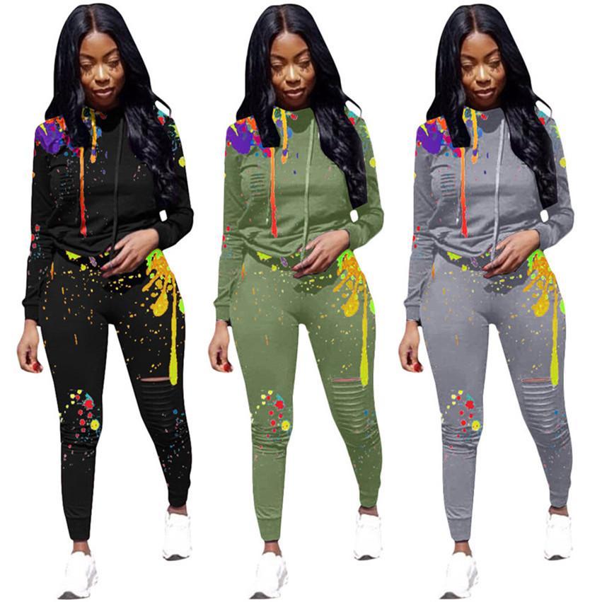 Plus size Women Sportswear burn out 2 piece set hoodies pants Jogger Suit s-3xl sweatshirt Leggings tracksuits fall winter clothing 3877