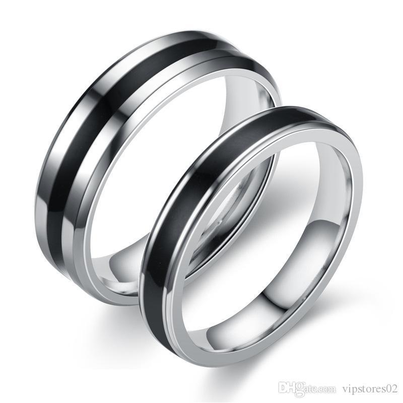 Insta-famousor Instagramable Ziffer Black Oil Edelstahl-Ring-koreanische Version des populären Schmuck Schwarz-Retro Paar-Ring