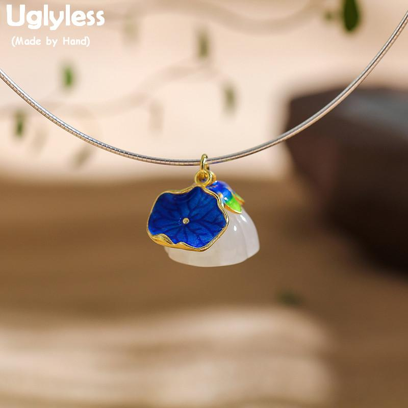 Uglyless Enamel Lotus Leaf Lotus Flower Necklaces for Women Vintage Ethnic Chokers Real 925 Silver Natural Jade Flower Pendant