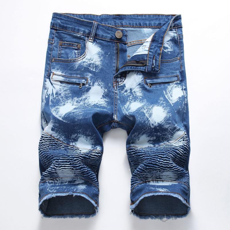 Été Denim Shorts Hommes stretch Slim Fit Jeans court Hommes Coton Casual Shorts Distressed Longueur genou Denim court