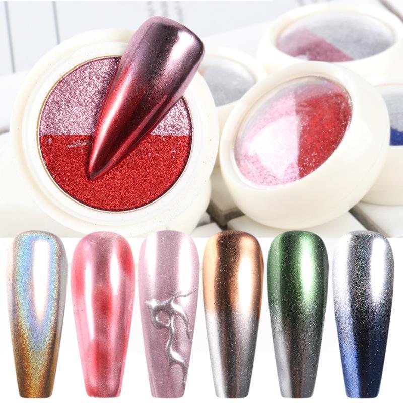 1 box specchio della polvere di scintillio Chrome Nail pigmento polvere 2 colori in 1 Olografici Dip Polvere Fiocchi di arte del chiodo delle decorazioni LASE01-08