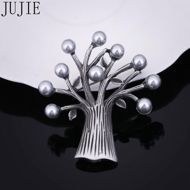 JUJIE Vintage Unique дерево Pearl Брошь штыри листьев ювелирные изделия Dropshipping
